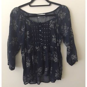 Dark blue long sleeve blouse